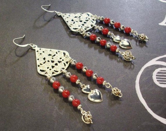 Silver Filigree Hearts and Red Gemstone Valentine  Earrings