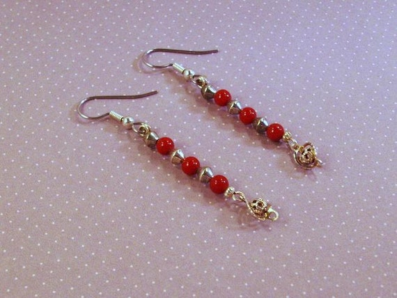 Red Gemstone Earrings with Silver Filigree Drops