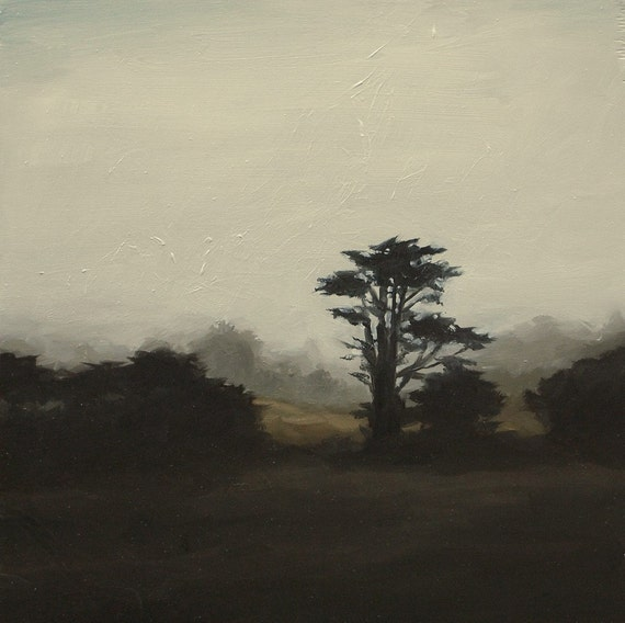 Silhouette of Cypress, Art Print of Oil Painting