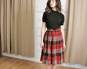 Vintage 1950's Plaid Pleated Skirt
