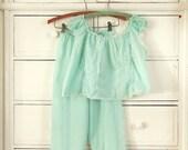 18% St. Patricks Sale Vintage 1960's Seafoam Pajama Set
