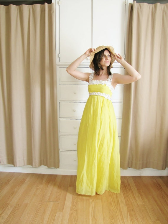 Vintage 1960's Lemon Meringue Maxi Dress