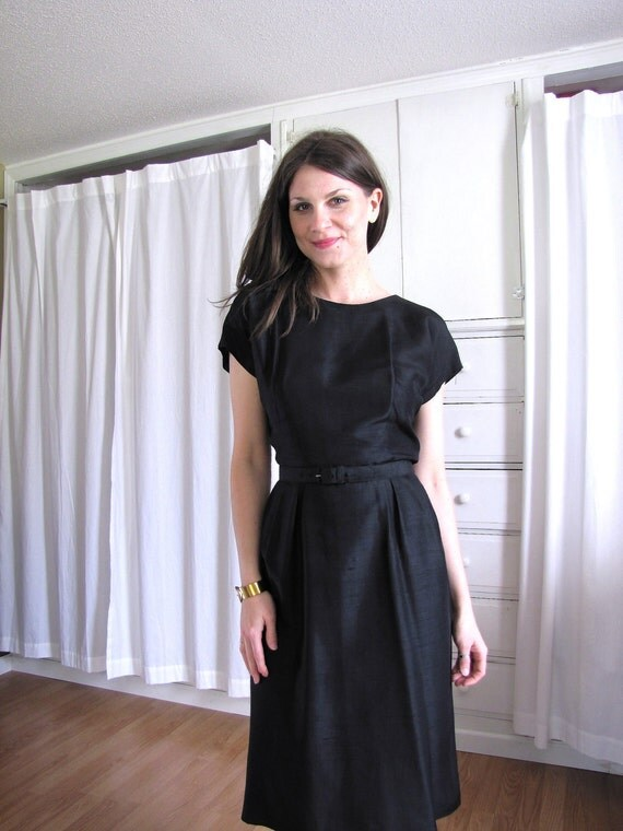 Vintage 1950's Black Silk Wiggle Dress
