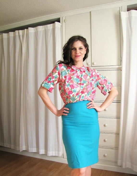 Vintage 1950's Spring Flower Print Day Blouse