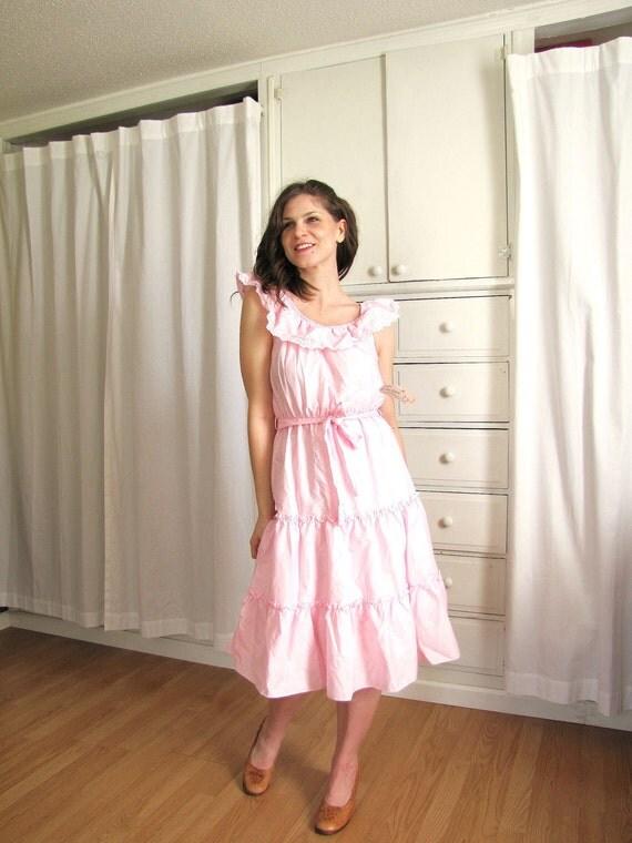 Vintage 1970's Pink Tiered Ruffles Eyelet Ethnic Dress