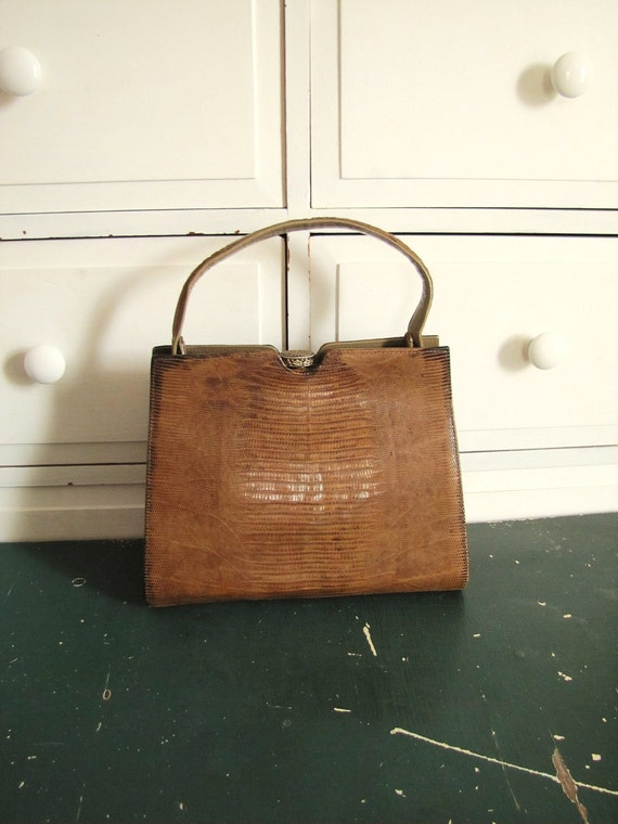 Vintage 1960's Palizzio Alligator Skin Handbag / Brown Lizard Leather Purse