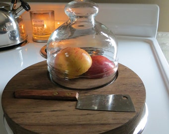 Vintage Wood Cheese Fruit Serving  Tray with Glass Dome Cloche