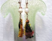 Sari Ribbon and Fresh Water Pearls Hand Forged Earrings