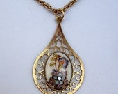 Gilded Tear- Vintage Cabochon With Swarovski Crystal in Gold Plated Setting On Gold Tone Chain