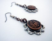Military Issue Copper- Earrings Made From Copper Military Buttons On Antique Settings