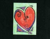 ACEO Original - Give Love - Mixed Media - Free Shipping - Heart - Queen - Red - Purple - Queen