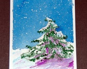 Original Hand Painted Watercolor ACEO  - Evergreen Tree - Solitary - LT6