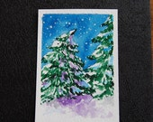 Evergreen Tree - ACEO - Original Hand Painted Watercolor  - Shy Little Tree - Snow - LT7