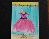 Original Hand Painted Watercolor ACEO - Perfectly Pink - Dress