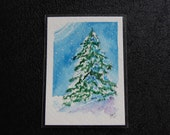 Original Watercolor ACEO - Evergreen Tree Snow Winter LT5