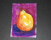 Original Hand Painted Mixed Media Watercolor ACEO - Pear - Purple - Violet