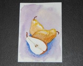 Pear ACEO Watercolor Original Hand Painted Purple Yellow