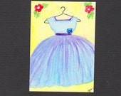 ACEO Watercolor Original Hand Painted - Blue Party Dress - Free Shipping