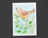 ACEO Watercolor Original Hand Painted - Longing to Fly - Free Shipping