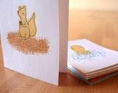 Critter Notecards -- Modern Octopus, Squirrel, Bird, Turtle, Spider Notecard Set