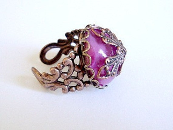 Antique Copper, Dusty Pink Glass Cabochon Ring