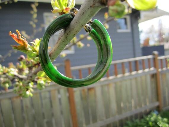 Vintage Bakelite Leafy Green Hoop Earrings