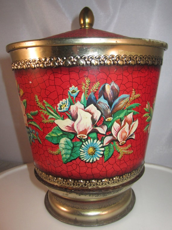 SALE  Lovely Vintage Gypsy Red Tin Urn Lidded Container