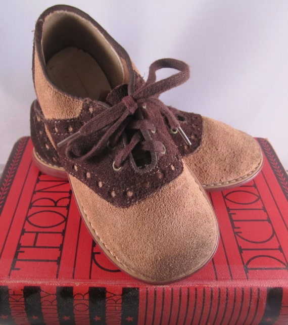 Vintage Childs Suede Brown and Tan Sears Saddle Shoes 1960s