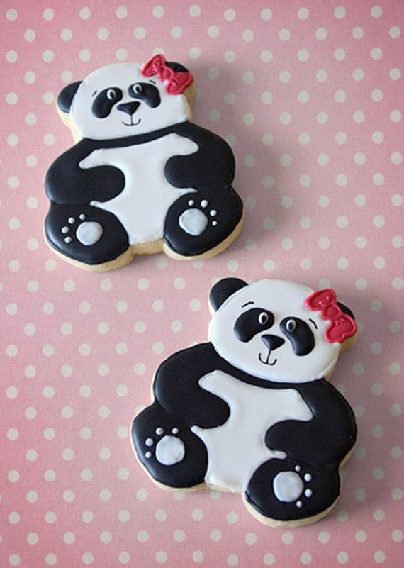 Items Similar To Hand Decorated Sugar Cookies Panda Bear
