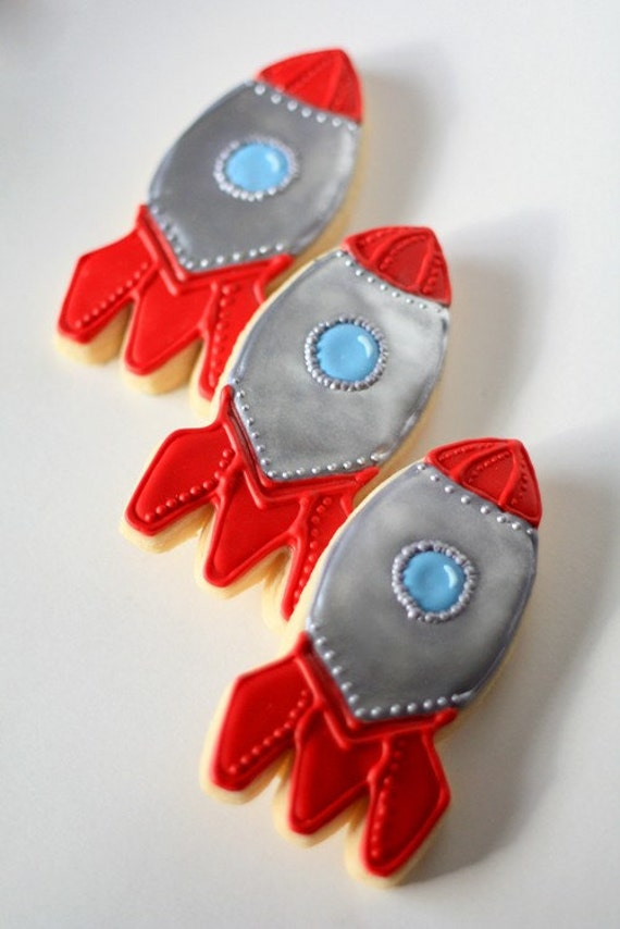 Items Similar To Hand Decorated Sugar Cookies Rocket