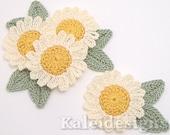 "Cream 1-1/2"" Crochet Daisy Embellishments w/Leaves Handmade Applique Scrapbooking Fashion Accessories - 12 pcs. (203-2)"