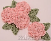 "Petal Pink 1-1/4"" Crochet Rose Flower Embellishments w/ Leaves Handmade Applique Scrapbooking Fashion Accessories - 12 pcs. (301-1)"