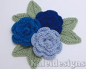 "Blue Mix 1-1/4"" Crochet Rose Flower Embellishments w/ Leaves Handmade Applique Scrapbooking Fashion Accessories - 9 pcs. (319-2)"