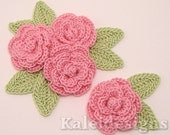"Carnation Pink 1-1/4"" Crochet Rose Flower Embellishments w/ Leaves Handmade Applique Scrapbooking Fashion Accessories - 12 pcs. (312-1)"
