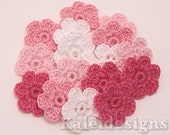 "Pink Mix 7/8"" Crochet 6-Petal Flower Embellishments Handmade Applique Scrapbooking Fashion Accessories - 16 pcs. (401-1)"