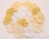 "Yellow Mix 7/8"" Crochet 6-Petal Flower Embellishments Handmade Applique Scrapbooking Fashion Accessories - 16 pcs. (404-1)"
