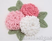 "Pink Mix 1-1/2"" Crochet Carnation Flower Embellishments w/ Leaves Handmade Applique Scrapbooking Fashion Accessories - 9 pcs. (603-1)"