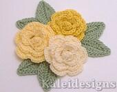 "Yellow Mix 1-1/4"" Crochet Rose Flower Embellishments w/ Leaves Handmade Applique Scrapbooking Fashion Accessories - 9 pcs. (317-2)"