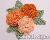 "Orange Mix 1-1/4"" Crochet Rose Flower Embellishments w/ Leaves Handmade Applique Scrapbooking Fashion Accessories - 9 pcs. (315-2)"