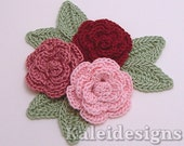 "Rose Mix 1-1/4"" Crochet Rose Flower Embellishments w/ Leaves Handmade Applique Scrapbooking Fashion Accessories - 9 pcs. (316-2)"