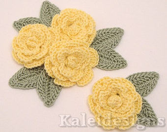 "Buttercup Yellow 1-1/4"" Crochet Rose Flower Embellishments w/ Leaves Handmade Applique Scrapbooking Fashion Accessories - 12 pcs. (306-1)"