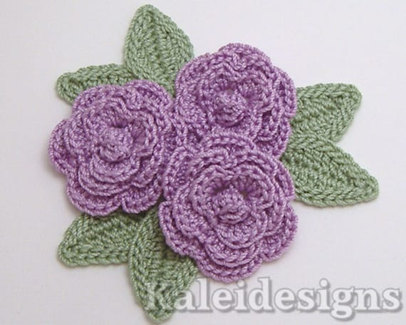 3 Lavender Crochet Rose Flower Embellishments w/ Leaves Scrapbook Applique (307-2)