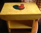Rustic Country Vintage Rooster/ Handmade Bench/ Stepping Stool in Folk Art  Yellow