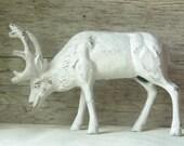 Last One --- Cast Iron Moose/Deer Doorstop Painted in Rustic White