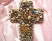 Handmade Jewelry Wall Cross Wedding Gift/Anniversary/Mothers Day / Mom/Owl/Gifts for Her