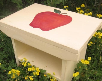 Back to School Country Vintage Apple/ Handmade Bench/ Stepping Stool