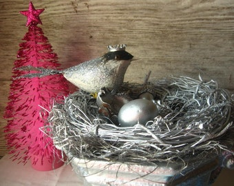 Shabby Chic Silver  Birdie in Nest Sculpture