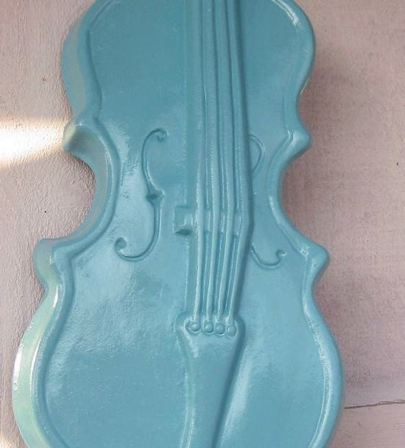 Reserved for Carolina Aguilar - Shabby Chic Light Blue  Violin and Lute Wall Hanging