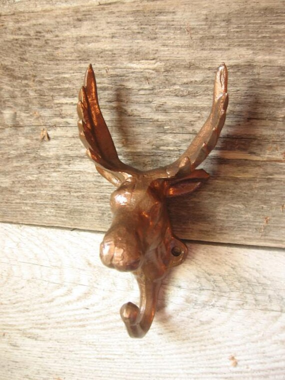 Cast Iron Moose Hook/Hanger -Painted in Hammered Copper