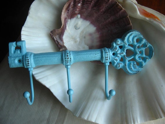 Sale- Shabby Chic Blue Cast Iron Key Hook